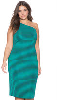 ELOQUII Plus Size Striped One Shouldered Dress
