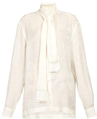Dolce & Gabbana Pussy-bow Rose-jacquard Blouse - White