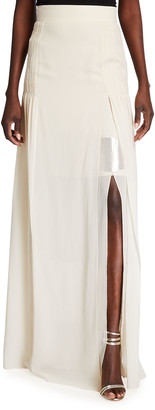 Akris Pleated Long Silk Georgette Skirt