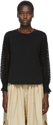 See by Chloe Black Lace Sleeve T-Shirt