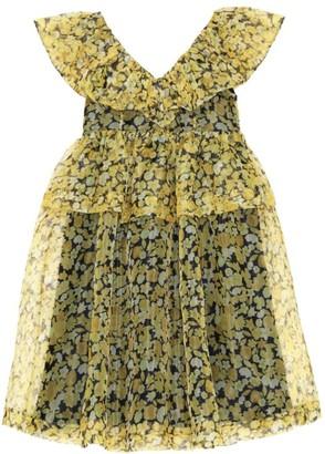 Ganni Organza Ruffle Babydoll Dress