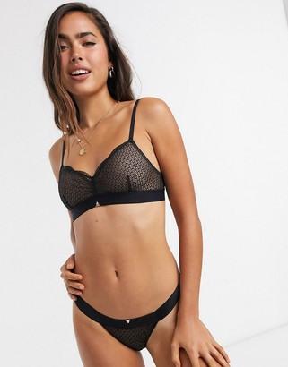 Beija Waves sheer geometric lace tanga briefs in black