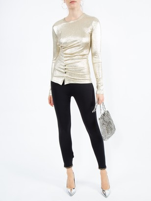 Paco Rabanne Silver Gold Metallic Ruched Top