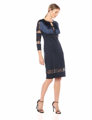 Tadashi Shoji Women's 3/4 SLV Neoprene Dress w/Fringe and lace
