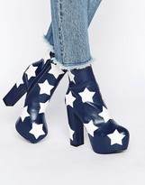 Daisy Street Star Platform Ankle Boots