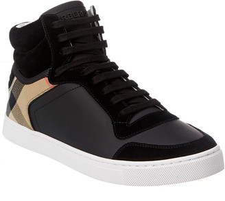 Burberry Reeth House Check Canvas & Leather High-Top Sneaker