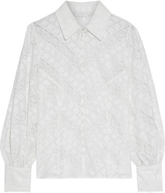 Zimmermann Veneto Lantern Paneled Broderie Anglaise And Lace Shirt