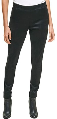 Calvin Klein Faux Suede Pants with Side Zip (Black) Women's Casual Pants