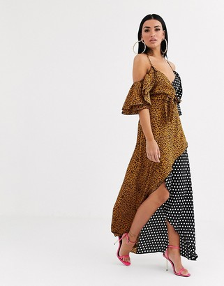 Forever U wrap front maxi dress with cold shoulder in mixed print-Multi