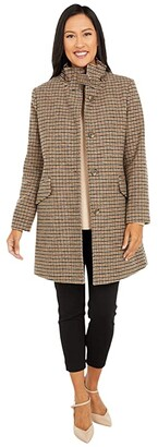 Lauren Ralph Lauren Buckle A-Line Houndstooth Coat (Grid Houndstooth) Women's Coat