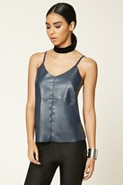Forever 21 FOREVER 21+ Faux Leather-Front Cami