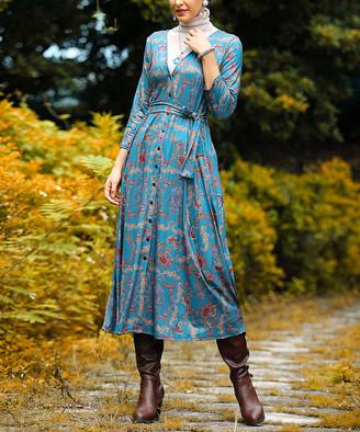 Reborn Collection Women's Maxi Dresses Blue - Blue & Burgundy Floral Button-Up Convertible Maxi Dress - Women & Plus