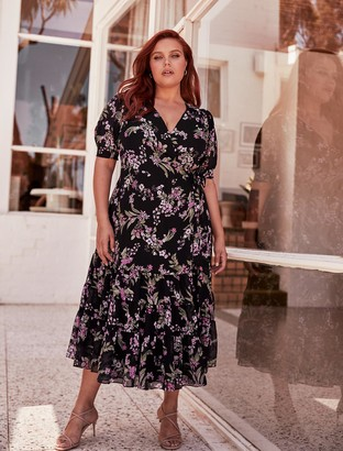 Forever New Ellen Curve Puff-Sleeve Tiered Midi Wrap Dress - Midnight Blossom - 16
