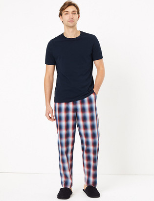 Marks and Spencer Pure Cotton Checked Pyjama Bottoms