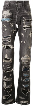 Unravel Project Distressed Patchwork Jeans