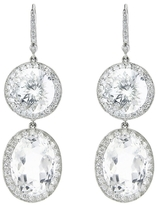 Andrea Fohrman Large Double Drop Rock Crystal Earrings with Diamonds - White Gold