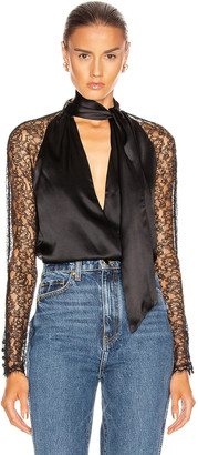 Jonathan Simkhai Lace Wrap Top in Black | FWRD