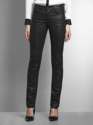 New York & Co. Lace Print Coated Skinny Jean