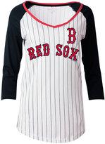 5th & Ocean Women's Boston Red Sox Pinstripe Glitter Raglan T-Shirt