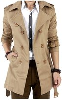 Tench Coats for Man, Fanala Classic Double Breasted Long Overcoat (XL, )