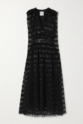Halpern Ruffled Sequin-embellished Pleated Tulle Midi Dress - Black