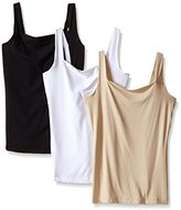 Flexees Women's Maidenform Shapewear Fat Free Dressing Tank 3 Pack Bundle