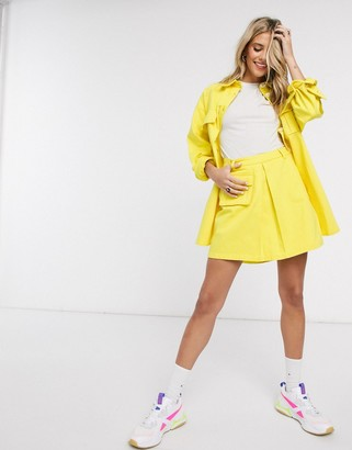 Asos DESIGN denim co-ord pleated skirt in bright yellow