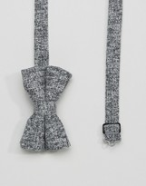 Asos Bow Tie In Gray Boucle Texture