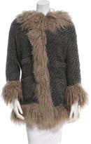 Dolce & Gabbana Fur-Trimmed Wool Knit Jacket
