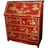 Oriental Furniture Fine Quality Asian 42-Inch Oriental Red Lacquer Drop Front Secretary Desk