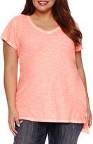 Boutique + + Short Sleeve V Neck T-Shirt-Plus