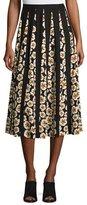 Lafayette 148 New York Adalia Artful Floral-Print Silk Skirt, Black Multi