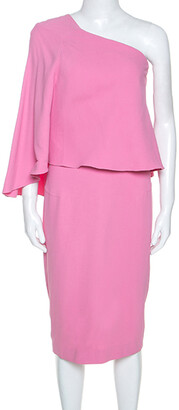 Roland Mouret Pink Crepe One Shoulder Amaral Dress S
