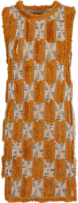 Missoni Fringed Crochet-knit Hemp-blend Mini Dress