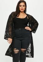 Missguided Curve Black Burnout Floral Kimono, Black