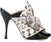 No.21 snakeskin effect bow mules