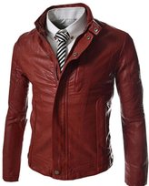 Partiss Mens Stand Collar Fuax Leather Stud Jackets,M