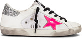 Golden Goose Superstar Sneaker in White Leather, White Canvas & Pink | FWRD