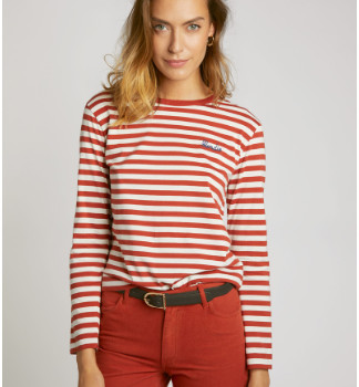 Maison Labiche Red and Off White Stripes Blondie T Shirt - m