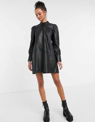 Object leather mini dress with ruched sleeves in black