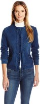 Liverpool Jeans Company Women's Collarless Quilted Jean Jacket