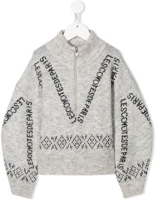 LES COYOTES DE PARIS zip-up intarsia knit jumper
