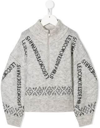 LES COYOTES DE PARIS Zip-Up Intarsia Knit Jumper