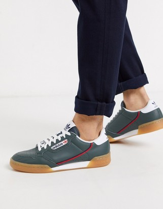 adidas continental 80 sneakers in green with gum sole