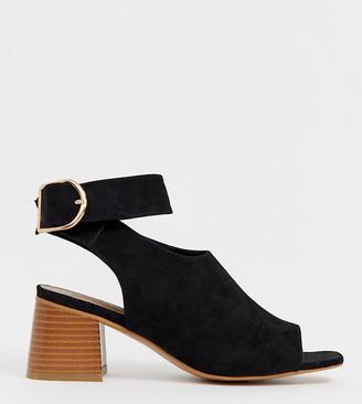 Asos Design DESIGN Wide Fit Trina peep toe shoe boots-Black
