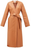 Loewe Collarless Belted Leather Coat - Womens - Tan