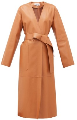 Loewe Collarless Belted Leather Coat - Tan