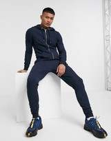 Asos Design DESIGN muscle tracksuit with zip up hoodie in navy
