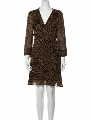 Ganni Animal Print Mini Dress Brown