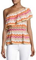M Missoni One-Shoulder Zigzag Stretch-Knit Top